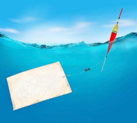 waterline: Fishing. Vector illustration. Stock Photo