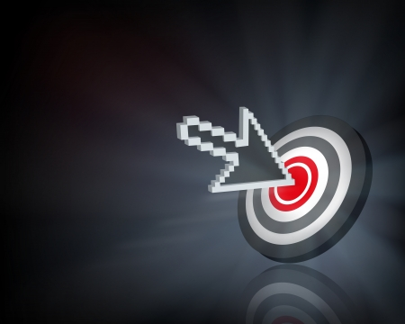 red bull: Cursor on target. illustration.