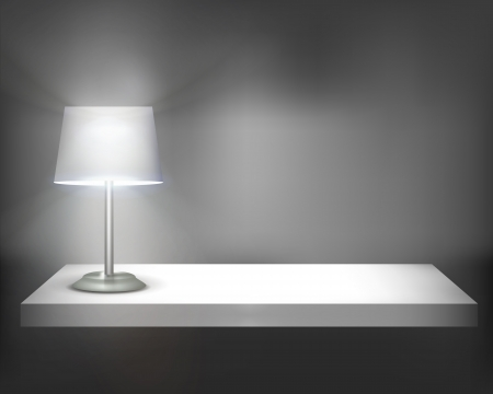Lamp on shelf. illustration. Vector