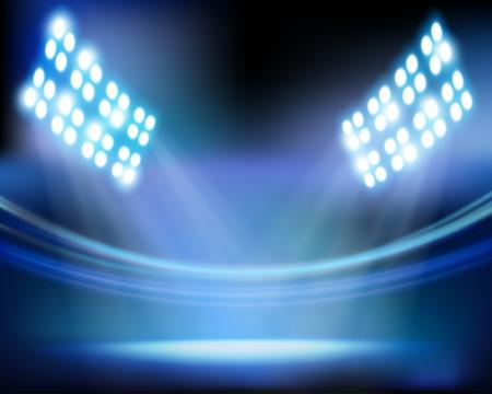 Las luces del estadio. Vector ilustración.