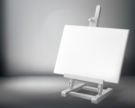 canvas on wall: Easel. illustration.
