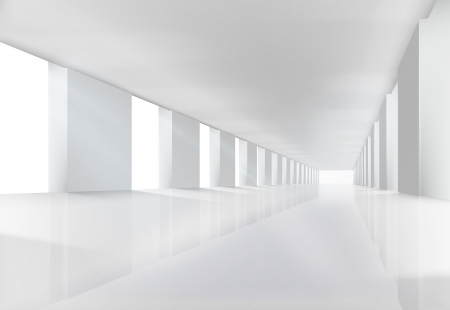 hall: Empty white interior.  illustration. Illustration