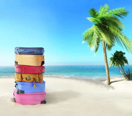Luggage on the beach photo