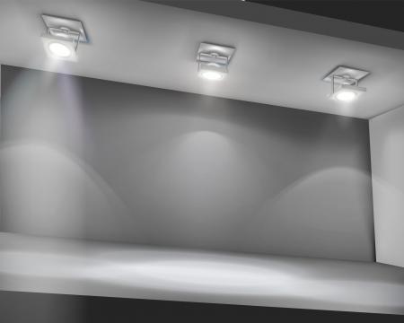 Illuminated shelf in shop. Ilustração Vetorial
