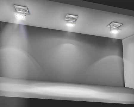 Illuminated shelf in shop.  Vector