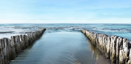 calm background: Sea and breakwater Stock Photo