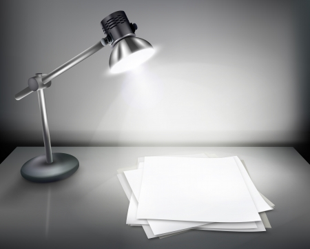 table: Desk with lamp illustration.