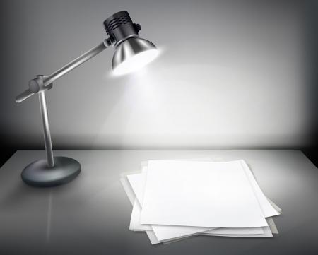 tabulka: Pracovní stůl s lampou ilustraci.