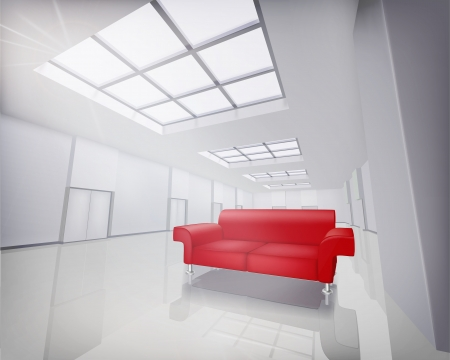 red sofa: Room with red sofa   Vector illustration