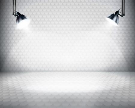 Verlichte ruimte voor expositie illustratie