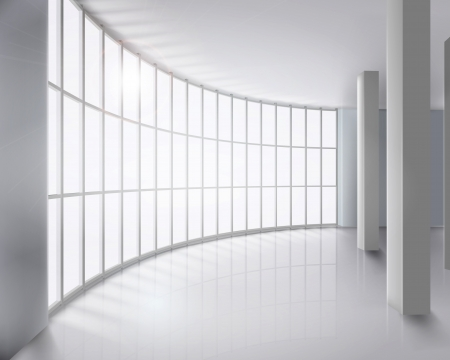 hallway: Glass wall  illustration  Illustration