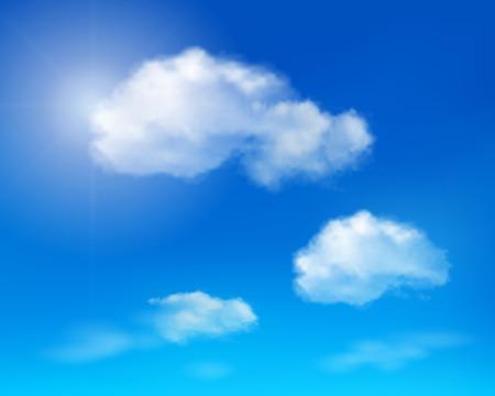 푸른 하늘에 구름 벡터 일러스트 레이 션