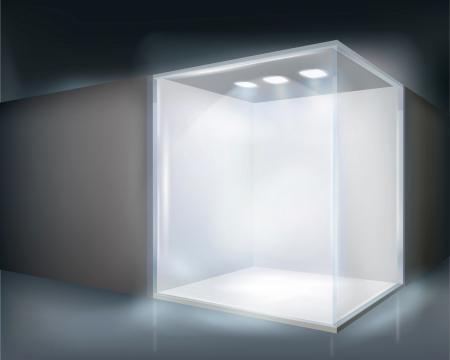 window case: Illuminated shop window  Vector illustration
