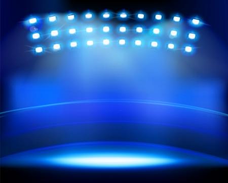 stage decoration abstract: Stadium spotlights  Vector illustration  Illustration