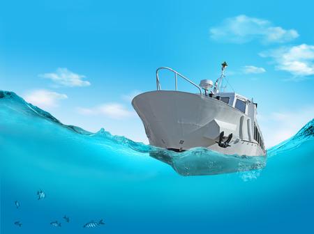 waterline: Boat on the sea