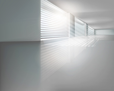 Hall with blinds  Vector illustration