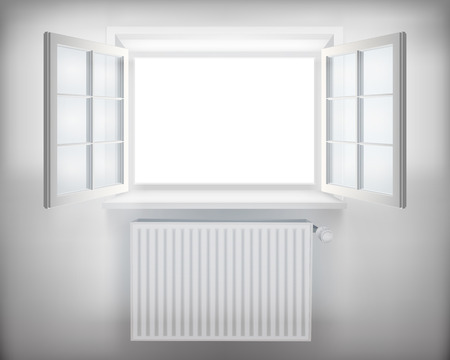 warm house: Central heating radiator  Vector illustration