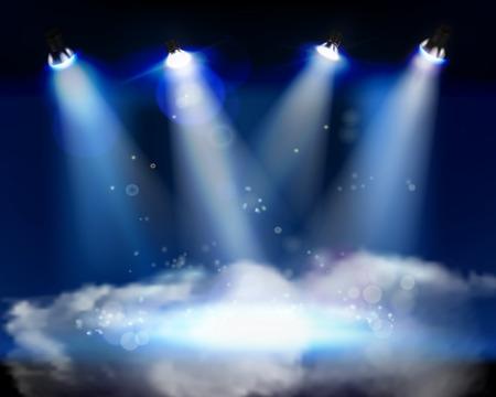 희미한 빛: 무대 벡터 일러스트 레이 션에 연기 일러스트