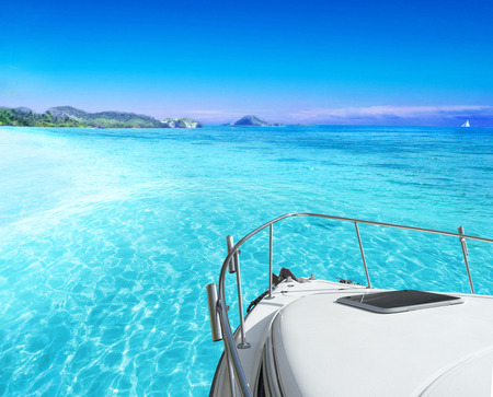 View of tropical sea from yacht photo