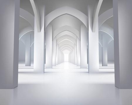 長い廊下の図  イラスト・ベクター素材