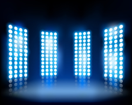 stage decoration abstract: Floodlights on the stage - Vector illustration Illustration