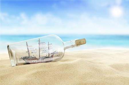 ships at sea: Ship in a bottle Stock Photo