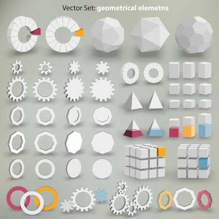 Vector Set  geometrical elements - lots of  graphic elements to creation your layout Vector