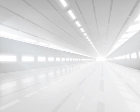 tunel: Pasillo vacío del blanco - ilustración vectorial.