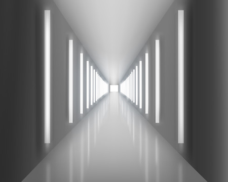 hallway: Illuminated passage.