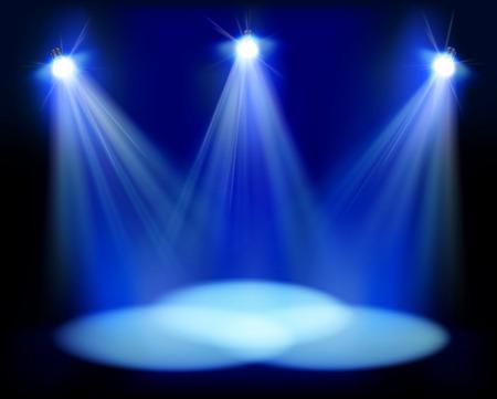 Schijnwerpers op het podium - vector illustratie. Stockfoto - 31424214