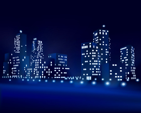 city by night: City at night - Vector illustration