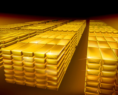 gold ingot: Stack of gold - Vector illustration Illustration