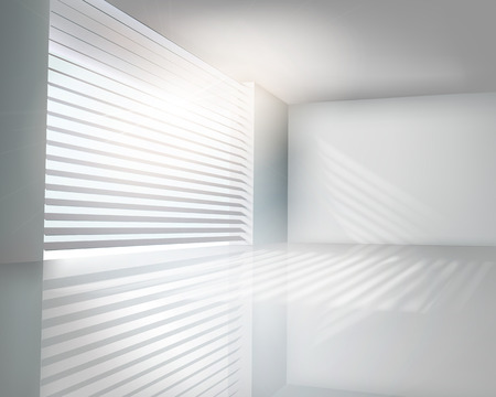 bank interior: Sunlit window with blinds - Vector illustration