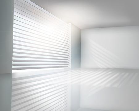 modern interieur: Zonovergoten raam met zonwering - Vector illustratie Stock Illustratie