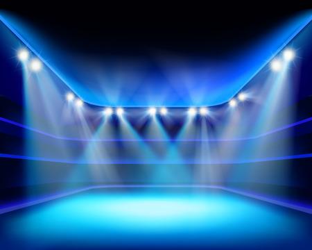 behang blauw: Lichten van het stadion - Vector illustratie Stock Illustratie