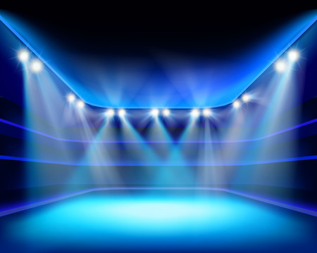 blue backgrounds: Lights of stadium - Vector illustration