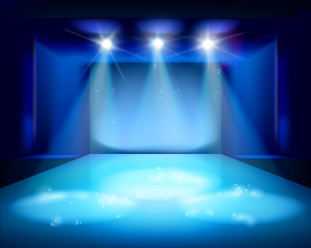 empty stage: Stage spot lighting - Vector illustration.