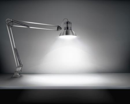 escritorio: Oficina con una lámpara de escritorio - ilustración vectorial