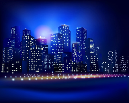 night sky: City skyline - Vector illustration