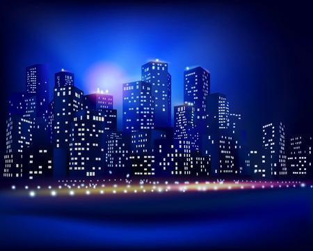 nacht: City skyline - Vektorabbildung