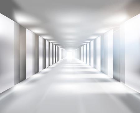 shopping center interior: Long passage - Vector illustration