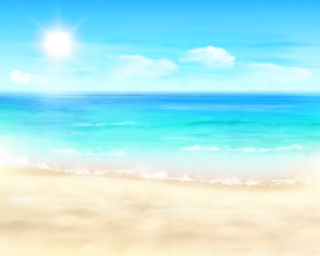 sea shells on beach: Sunny beach - Vector Illustration