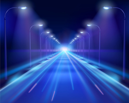 road tunnel: Road in the night Illustration.