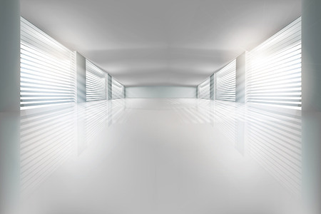 warehouse interior: Illustration of empty hall. Vector illustration. Illustration