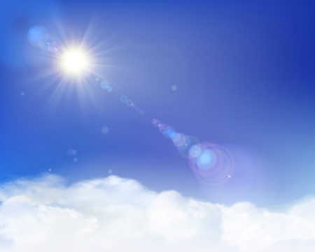 Los rayos de luz del sol. Ilustración del vector.