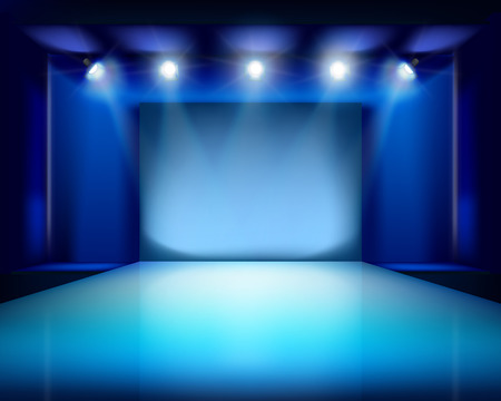 spotlight white background: Empty stage. Vector illustration.