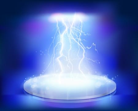 ステージ上の電気爆発。ベクトル イラスト。