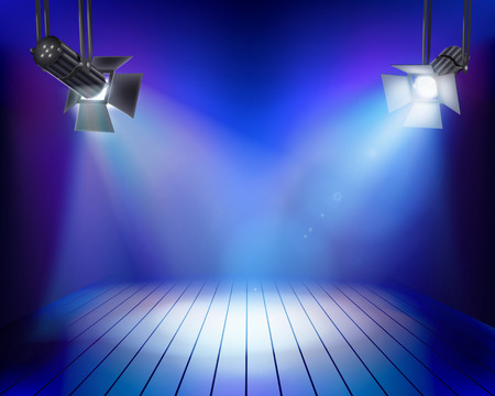 Performance in theatrical stage. Vector illustration. Vector