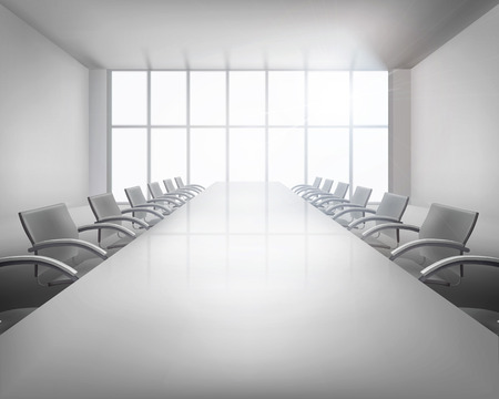 boardroom: Before conference. Vector illustration.