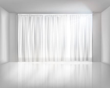 Net のカーテンを含むウィンドウ。ベクトル イラスト。